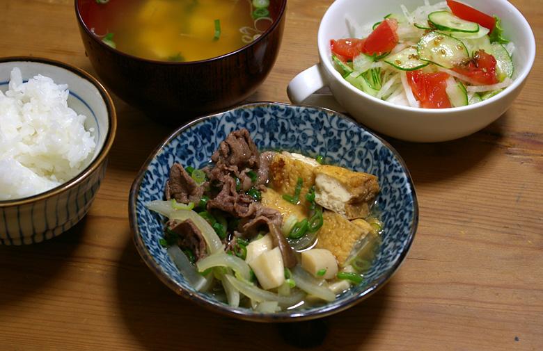 減塩レシピ 牛肉と厚揚げのすき焼き風煮物